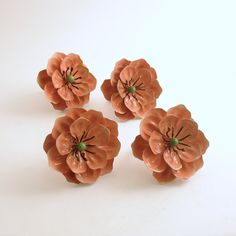 Vintage Tole Napkin Rings Metal Flowers Set