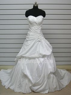 Ball Gown Sweetheart Appliques Beading Pick Up Court Train Taffeta Wedding Dress (Bo-Dene)