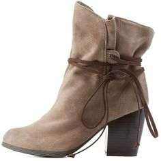 Charlotte Russe Taupe Qupid Slouchy Wrapped Chunky Heel Booties by... ($43) ❤ liked on Polyvore featuring shoes, boots, ankle booties, taupe, taupe ankle booties, ankle high boots, slouch ankle boots, chunky heel boots and short boots