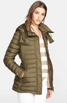 Burberry Brit 'Cornsdale' Channel Quilt Down Jacket with Hood available at #Nordstrom