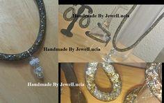 Nylon Mesh Tubing, aka Tubular Crin, aka Cyberlox: Black Mesh, Silver, Gold and Crystal Jewellery Set