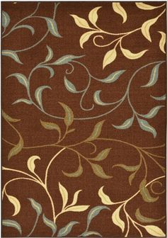 "Rubber Back Chocolate Brown Floral Garden Non-Slip (Non-Skid) Area Rug 3'3"" x 5' HMM5110 Maxy Home http://smile.amazon.com/dp/B00KI0ZITA/ref=cm_sw_r_pi_dp_X0.0tb1330RPS3NC"