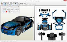 Pepakura -translates 3d models into flat designs that can be cut and reassembled