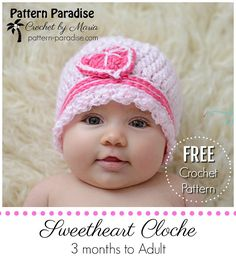 Free crochet pattern for Cloche Hat with heart by pattern-paradise.com #crochet #patternparadisecrochet #hat #valentinesday #heart