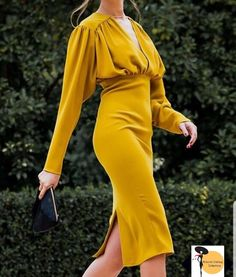 Ruched Design Long Sleeve Midi Dress - Women's style: Patterns of sustainability Trend Fashion, Fashion 2020, Hijab Fashion, Fashion Dresses, Womens Fashion, Ladies Fashion, Fashion Ideas, Trendy Dresses, Elegant Dresses