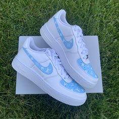 blue Hand painted Air force - swoosh & toe box with lv monogram Jordan Shoes Girls, Girls Shoes, Souliers Nike, Nike Shoes Air Force, White Nike Shoes, Aesthetic Shoes, Cute Sneakers, Hype Shoes, Fresh Shoes