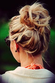 Messy Bun Love on casual days home from school just chilling (: