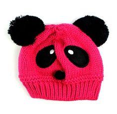 Susen 1pc Fashion Cute Baby Kids Girls Boys Stretchy Warm Winter Panda Cap Hat Beanie (Hot Pink)