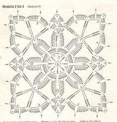 World crochet: Motif 270 Crochet Squares, Crochet Granny, Crochet Motif, Crochet Doilies, Crochet Flowers, Crochet Patterns, Diagram Chart, Crochet Diagram, Cute Crochet