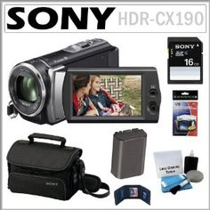 """Sony HDR-CX190 HD Handycam Camcorder with 5.3MP and 25x Optical Zoom + 8GB SDHC + Sony Case + Replacement Battery Pack + Accessory Kit by Sony. $228.00. The easy-to-use HDR-CX190 Handycam camcorder records stunning 1920 x 1080 Full HD video and 5.3MP pictures. It's stabilized 25x/30x extended digital zoom lens gets you closer to the action while a back-illuminated """"Exmor R"""" CMOS sensor allows you to capture stunning imagery in low light conditions. Intelligent Auto mode analyz..."""