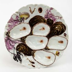 Circa 1860 French Limoge Oyster Plates | From a unique collection of antique and modern platters and serveware at http://www.1stdibs.com/furniture/dining-entertaining/platters-serveware/