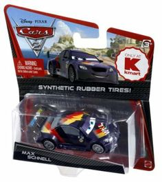 Disney / Pixar CARS 2 Movie Exclusive 155 Die Cast Car with Synthetic Rubber Tires Max Schnell by Mattel Toys. $6.99. Synthetic Rubber Tires. 1:55. Exclusive Cars vehicles with synthetic rubber tires are coming your way!!! includes    Lightning McQueen    Jeff Gorvette     Lewis Hamilton    Miguel Camino    Carla Veloso    Max Schnell    Raoul CaRoule