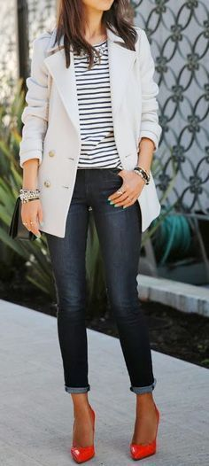 Stripes and bright shoes!
