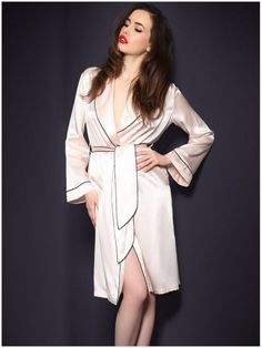 CW15051 Long sleeve bathrobes real silk pajamas for women