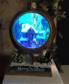 "Enchanted 9"" Blowing Snow Ball House Scene Sleigh HORSE SNOWMAN Christmas NEW"