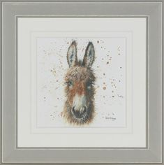'Burro Daisy' is a cute small framed print by popular artist, Bree Merryn for Artko. The print sits within a white mount and stylish grey frame. Total product measurements are 37 x 37cm.  £35.