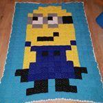 Finally, the big reveal. Minion Granny square crochet blanket! #crochet #grannysquare #craft #woolcraft #wool #vibesandscribes #crochet #minions #minion