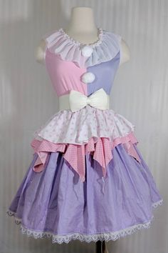 plus size halloween costumes VK Freakshow Babydoll harlequin fairy kei pastel clown lolita Halloween costume dress plus size Clown Dress, Costume Dress, Clown Clothes, Kawaii Clothes, Pretty Outfits, Cool Outfits, Cute Clown, Cute Fashion, Fashion Outfits