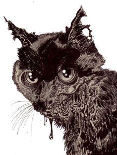 Zombie Art : Zombie Cat Head #5