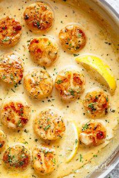 Creamy Garlic Scallops - Cafe Delites Best Scallop Recipe, Scallop Recipes, Scallop Dishes, Creamy Garlic Sauce, Garlic Butter, Pesto Sauce, Garlic Salt, Shrimp Recipes, Fish Recipes