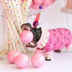Hungry,hungry, hippo!!! Hippo cake topper and party decoration. Perfect animal parade party decor/.