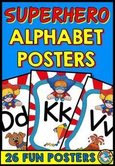 #ALPHABET #POSTERS WITH A #SUPERHERO #THEME