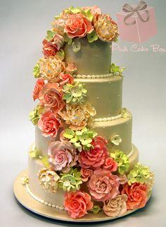Cascading Flowers Wedding Cake by Pink Cake Box