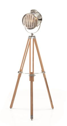 Alfred Tripod Floor Lamp, in Natural Wood. A flexible and versatile statement light, inspired by Hollywood. £149. MADE.COM