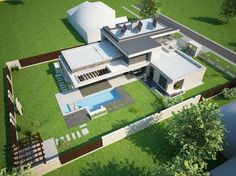 Fodor house - modern - exterior - other metro - architect office Modern Houses, Modern Exterior, Villas, Presentation, Concept, Models, 3d, How To Plan, House Styles