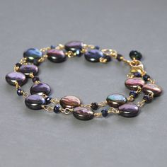 Pearl, Mystic Quartz Wire Wrapped Bracelet. Multi Strand Peacock Biwa Pearl Bracelet by Agusha
