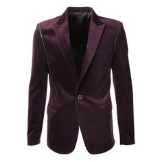 FLATSEVEN Mens Slim Fit Peaked Lapel Velvet Blazer Jacket(BJ801)