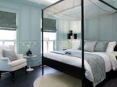 Turquoise blue tone on tone bedroom design with turquoise blue bedroom with black canopy bed and blue silk bedding! Love the blue silk damsk roman shade! Damask Bedroom, Bedroom Black, Dream Bedroom, Bedroom Decor, Bedroom Ideas, Bedroom Inspiration, Silver Bedroom, Bedroom Stuff, Cozy Bedroom