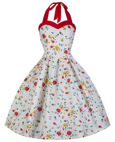Lindy Bop 'Carola' Vintage 1950's Ditzy Summer Meadow Floral Print Halter Neck Dress (XL, Red White Floral) at Amazon Women's Clothing store: