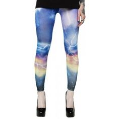 Feast your eyes on another pair of printed leggings, Check out bolts of lightening crashing through the sky.