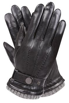 eb75f9911fc18 Men's Texting Touchscreen Winter Warm Sheepskin Leather Daily Dress Driving  Gloves Wool/Cashmere Blend Cuff Black (Cashmere&Woo Blend Lining))