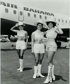 What a uniform! 1960s Air Bahama Stewardesses