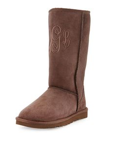 Monogrammed+Classic+Tall+Boot,+Chocolate++by+UGG+Australia+at+Neiman+Marcus.