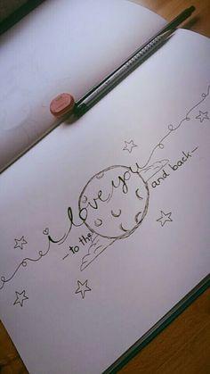 Liebe Bleistiftzeichnung Mond
