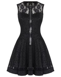 Jawbreaker Black Rose Jacquard Lace Gothic Steampunk VTG Victorian Mini Dress