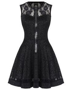 Jawbreaker Black Rose Jacquard Lace Gothic Steampunk VTG Victorian Mini Dress