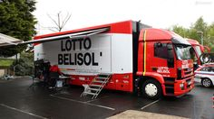 Lotto-Belisol uses these box trucks made by Iveco