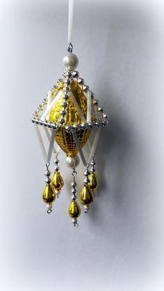 Vánoční+ozdoba+z+foukaných+perel+Lustřík+žlutý