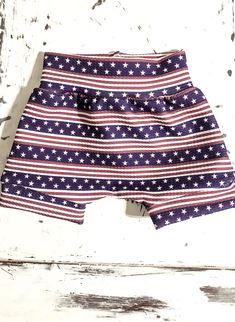 Beach trip slacker shorts Red Bummie for baby boy. American Boy Slacker for the 4th White and Blue American Boy Slackers