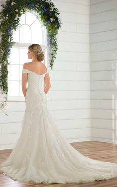 D2352 Vintage Off-the-Shoulder Wedding Gown by Essense of Australia