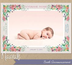 Birth Announcement, Painted floral
