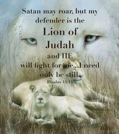 Satan may roar but my DEFENDER is the Lion of Judah and He will fight for me... I need only be STILL. ~Exodus 14:14