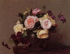 Roses and Clematis - Henri Fantin-Latour