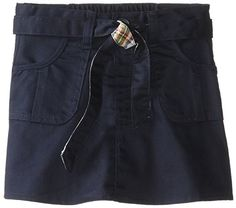 Eddie Bauer  Little Girls' Scooter (More Styles Available), Twill Navy-CZ84, 6  Front pleated pockets  Zip front and button closure  Attached shorts inside  Cotton/poly blend fabric for easy care