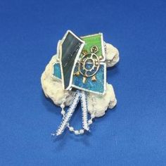 Turtle on Blue and Green Glass Pin or Brooch by shininggarden, $15.00