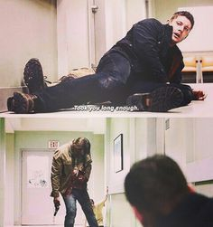 11x17 Red Meat. Gets shot, almost gets choked/suffocated to death, still kills two werewolves and manages to save his brother. I give to you, Sam Winchester ladies and gentlemen.